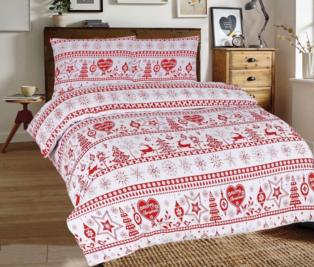 Flanelové obliečky s vianočnými motívmi v červeno-bielom prevedení. Kvalitex
