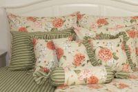 Povlak jednoduchý so vzorom hortenzie zelenožlutých prúžkov |  Poťah krepový jednoduchý , Poťah bavlnený jednoduchý